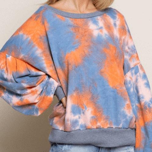 Tie Dye Bubble Sleeve Sweater (Orange/Blue)