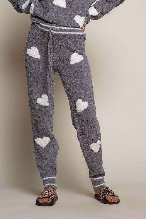 Cozy Grey & White Heart Pants