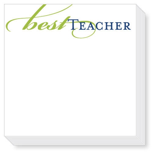Green Best Teacher Luxe Notepad