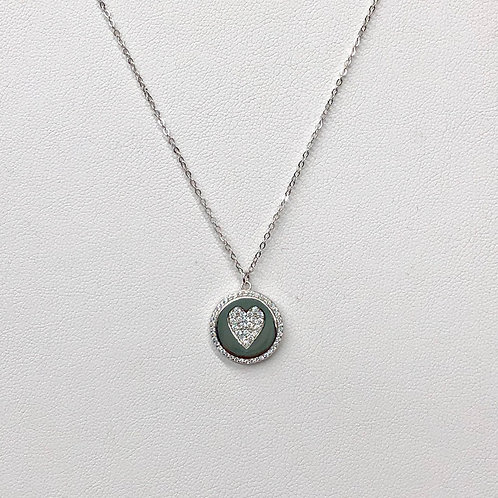 Silver Heart Coin Necklace