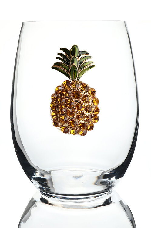 Pineapple Jeweled Stemless Wine Glass