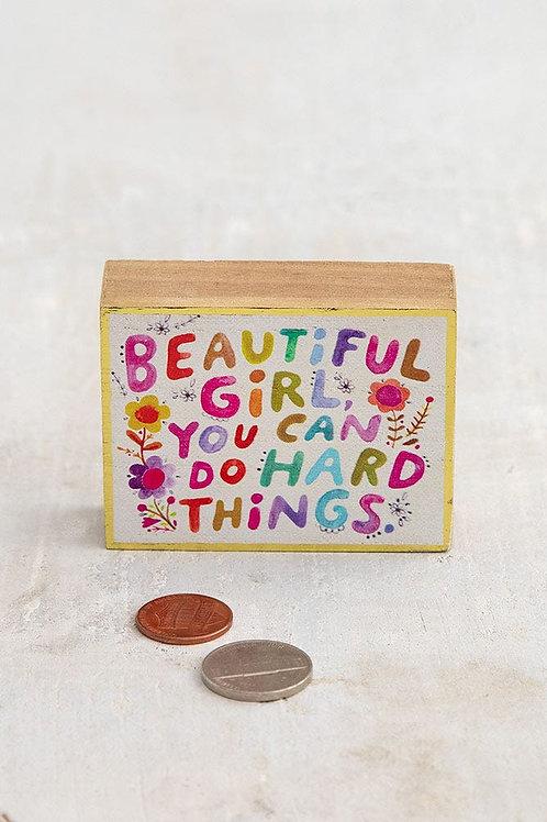 Tiny Block Sign 2.75x2.25 - Beautiful Girl