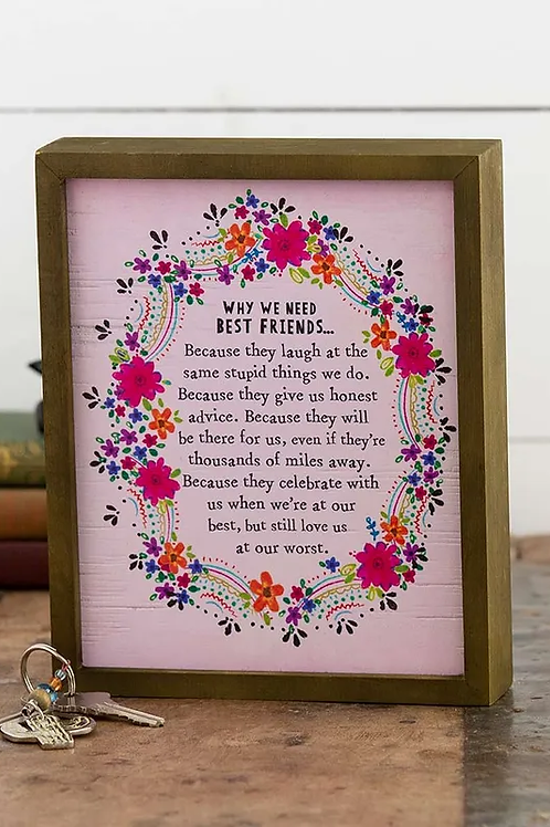 Natural Life Box Sign - Best Friends