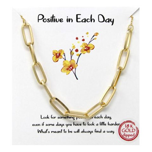 """Gold """"Positive In Each Day"""" Necklace"""