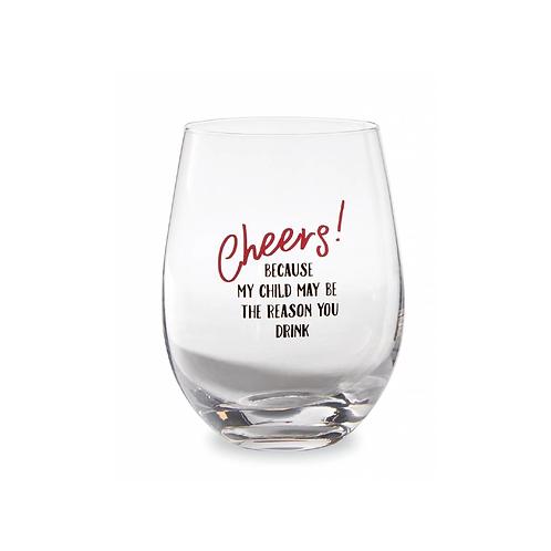 Cheers Teacher Wine Glass