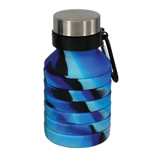 Silicone Collapsible Water Bottle - Blue/Black