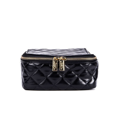 Hidden Gem Jewelry Bag - Quilted Black