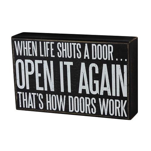 How Doors Work Box Sign
