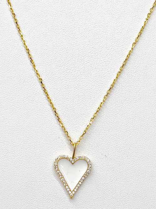 CZ White Heart Necklace