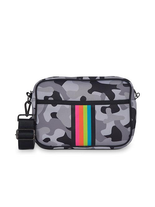 Drew Crossbody - Grey Camo & Rainbow Stripe