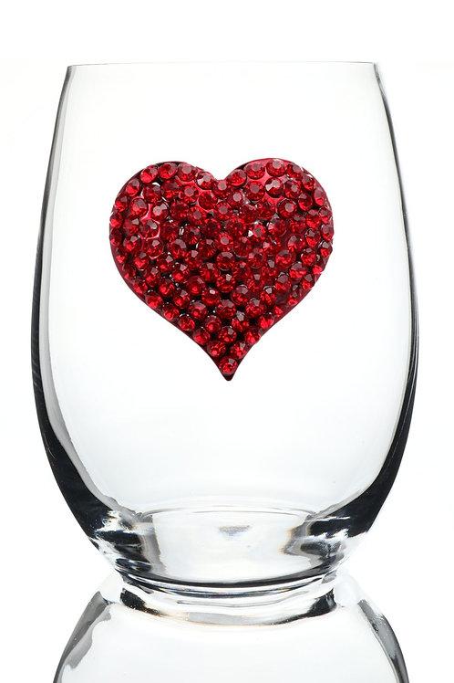 Red Heart Jeweled Stemless Wine Glass