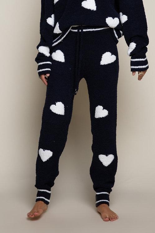 Cozy Navy & White Heart Pants