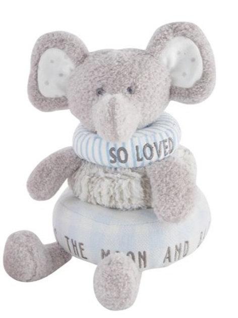 Stackable Plush Toy - Blue Elephant