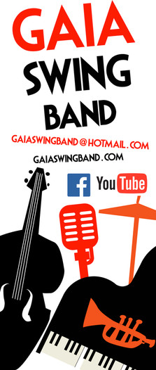 Live jazz swing events, GAIA SWING BAND banner for live concerts
