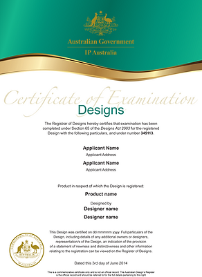 Registered design certificate