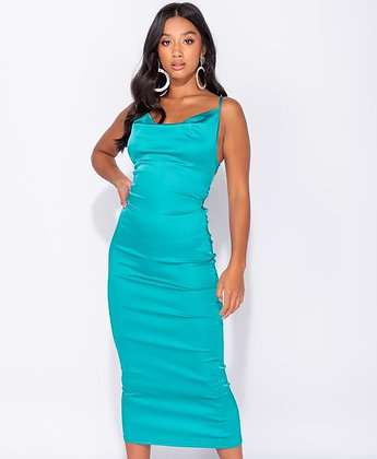 Satin bodycon midi dress