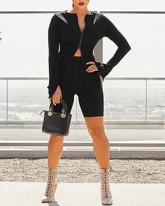Everly zipper two-piece black