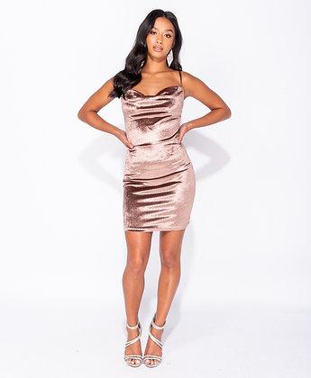 Mocha velvet mini dress