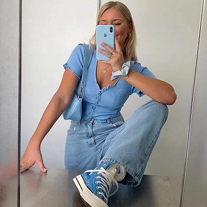 Lisa cropped cardigan blue