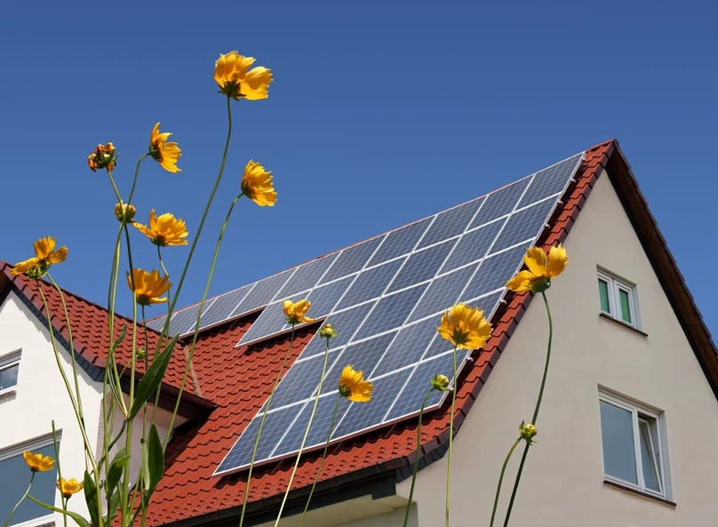 Solar panels on home with flowers