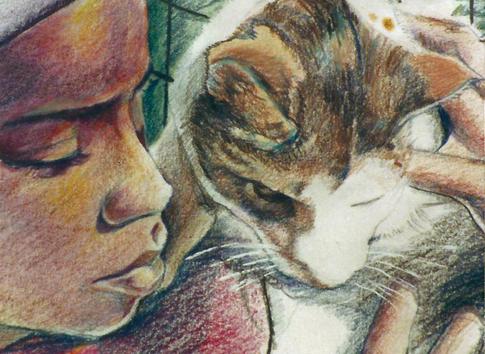 """Dap and Precious"", Color Pencil and Watercolor"