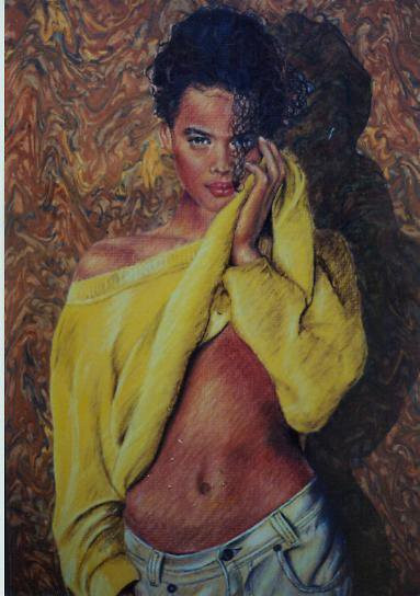 """""""Yellow Sweater"""", Color Pencil"""