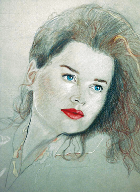 """Red and Blue"", Conte Crayon and Color Pencil"