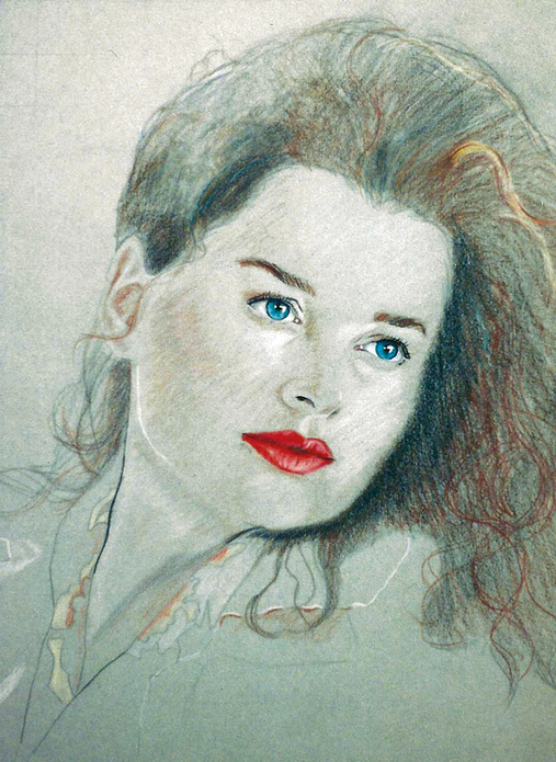 """""""Red and Blue"""", Conte Crayon and Color Pencil"""