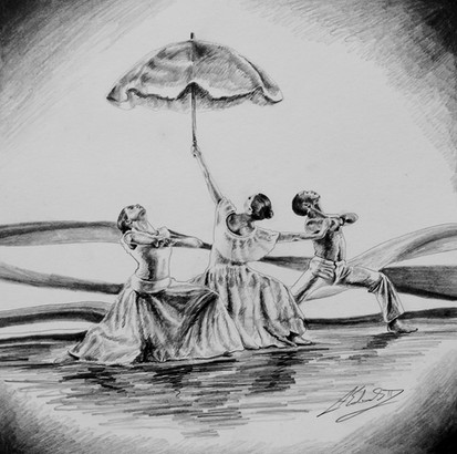 """Alvin Ailey Revelations Study """"Wade In The Water"""", Pencil"""