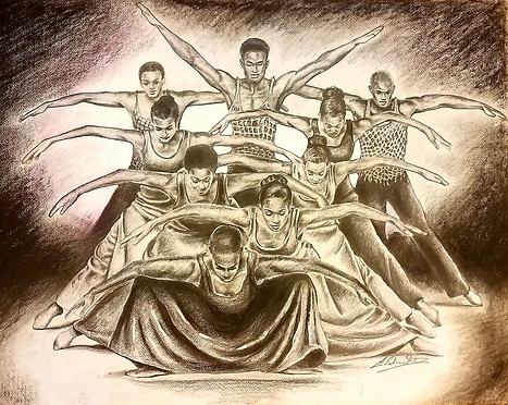"Alvin Ailey Study ""Pilgrim of Sorrow"", Pencil and Color Pencil"