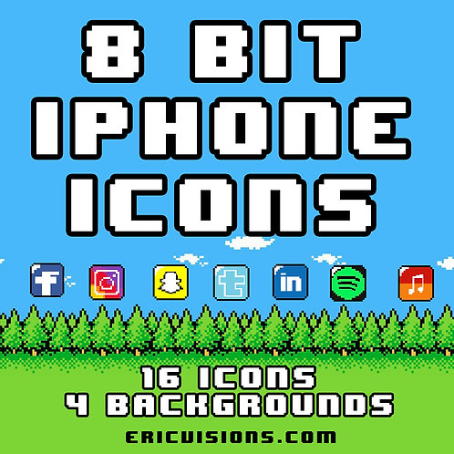 8-Bit iPhone Icons and Backgrounds