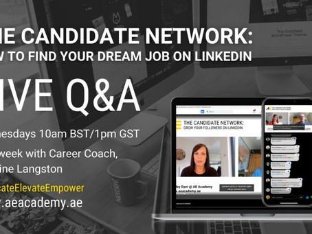 Free Career Coaching Q & A On LinkedIn Live Wednesdays 10 am UK time. 5 pm Hong Kong Time