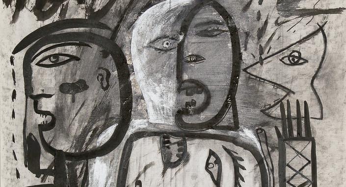 Hanaa Malallah, 1993, Ink and charcol on