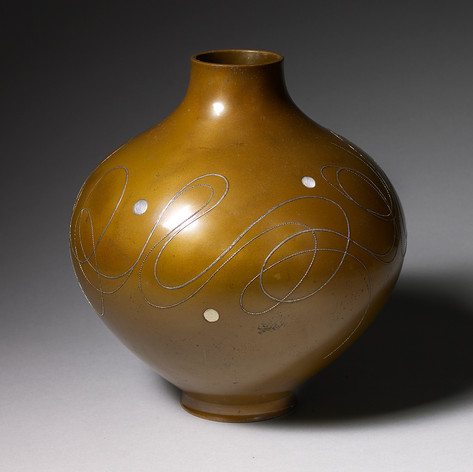 SOLD  Inlaid flower vase Japan, Showa period, 1950's - 1970's Height: 29 cm, 11 1/2 in