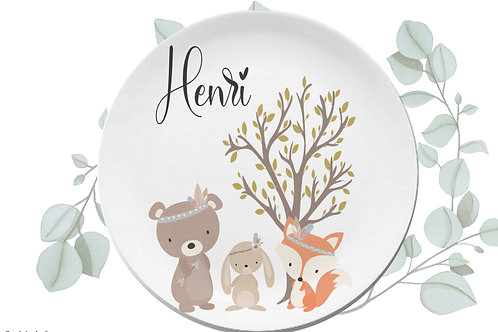 Kinderteller Boho Bär Melamin Personalisiert /Geschenk zur Geburt/ Geschenk zur
