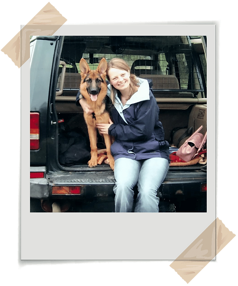 UK Confidence Coach Jenny Jarvis with her German Shephard