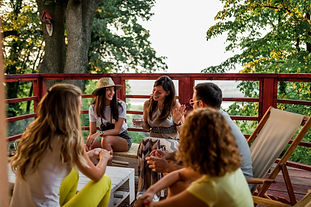 friends-having-fun-wooden-balcony-forest