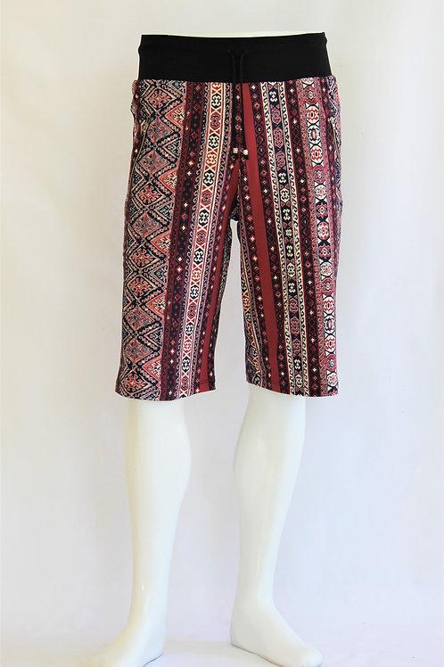 Burgundy Tribal Pattern Casual Shorts