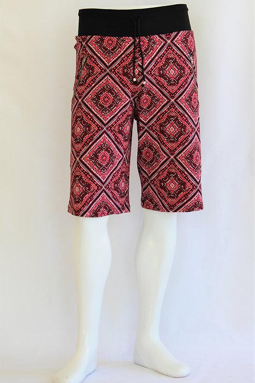 Red Diamond Pattern Casual Shorts