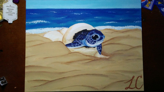 Leatherback Turtle Hatchling, Artist: Lauren Annika Chung, 11th Grade, GHS