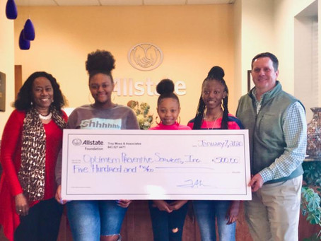 Optimism Preventive Services, Inc receives Allstate Foundation grant