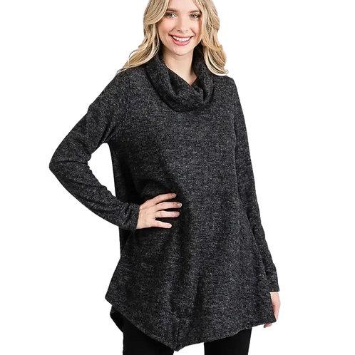 JBJ Cowl Neck Button Tab Sweater