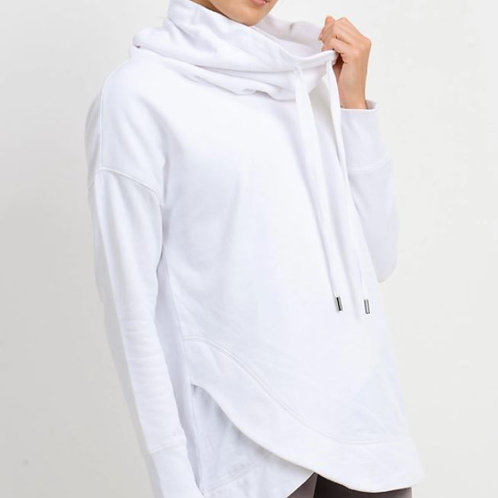 Cowlneck Overlay Sweater White
