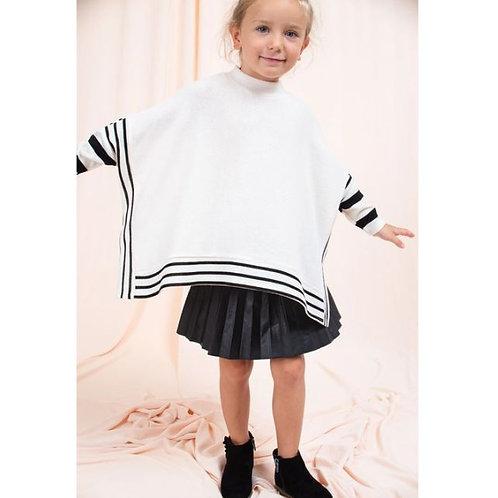 Kids Solid Stripe Poncho