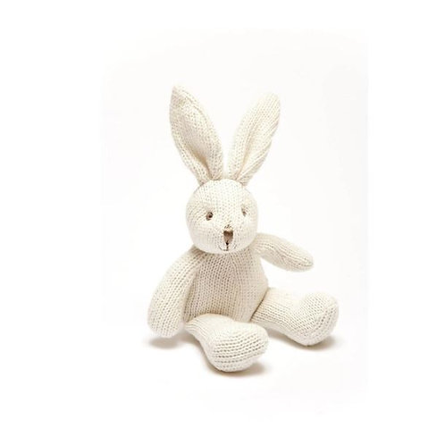 Knitted Organic Cotton White Bunny Baby Rattle
