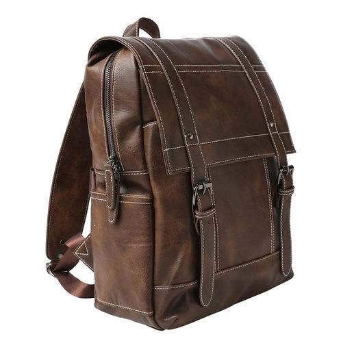 MM Drake Vegan Leather Backpack-Brown