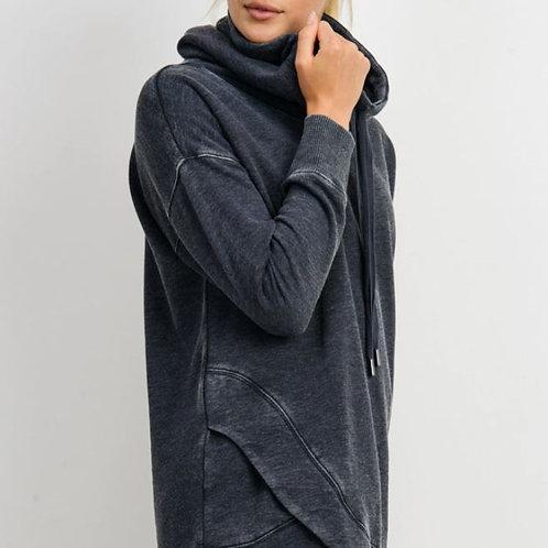 Cowlneck Overlay Sweater Blk