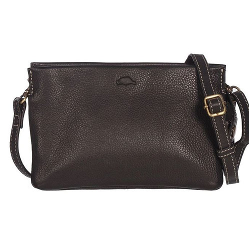 Roots Ladies RFID Double Pouch Crossbody Wallet-Black