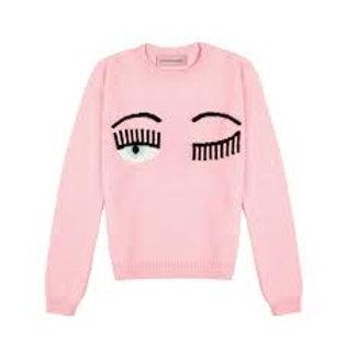 Chiara Ferragni R Neck Sweater Pink