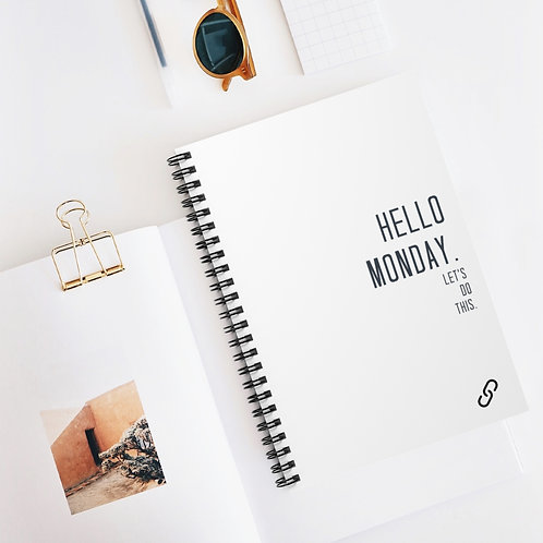 Spiral Notebook - Ruled Line-Hello Monday.